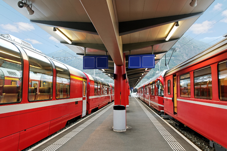 Red trains station from Tirano to the Switzerland. photo