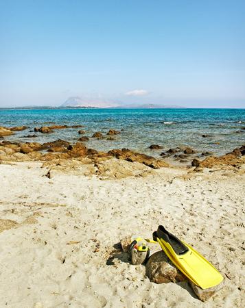 webfoot: Golfo aranci in Sardinia, Italy. Stock Photo
