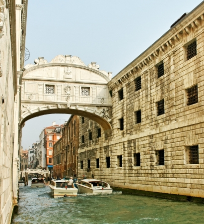 doges: Bridge of Sighs at Doges Palace, Venice, Italy. Stock Photo