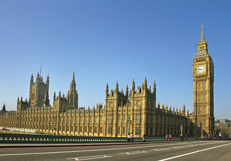 Buildings of Parliament and Big Ban tower in London.
