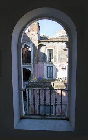 View from window to the old close yard  photo