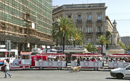 Tour bus in centre of Catania.