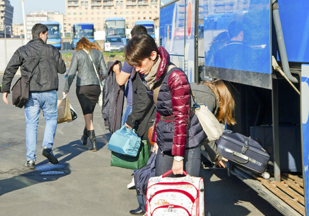 APRIL 2014 - passengers arrived by bus to the Catania, Sicilia, Italy on 7 April 2014.