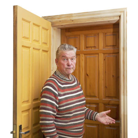 Adult man between two doors. photo