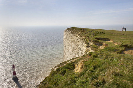 Seven sisters park with chalk cliff. Stock Photo