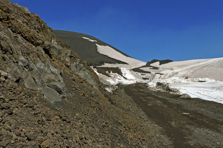 Etna mountain landscape, volcanic rock and snow. photo