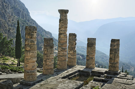 delfi: The ruins in the archaeological site of Delphi in Greece.