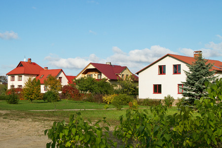 Detached houses in the small town.