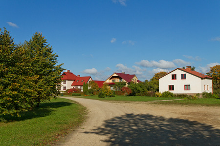 Detached houses in the small town. photo