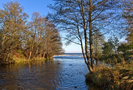 Small river flowing into the Baltic sea. photo