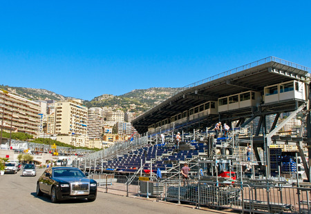 MONACO - APRIL 24: Panorama in Monaco on April 24, 2013. Monaco is the second smallest and the most densely populated country in the world.  Monacos status as a premier tourist destination and recreation center for the rich and famous. Preparation for th