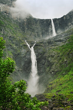 biggest: Biggest Norway waterfall in a summer. Stock Photo
