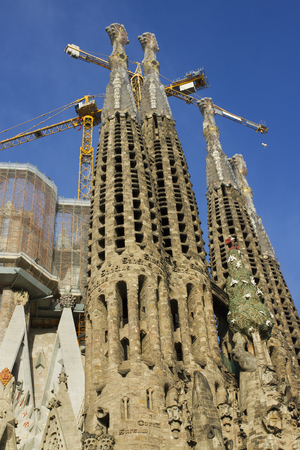 gothic build: BARCELONA, SPAIN-SEPTEMBER 18: La Sagrada Familia - the impressive cathedral designed by Gaudi,which is being build since 19 March 1882 and is not finished yet September 18, 2014 in Barcelona, Spain. Editorial