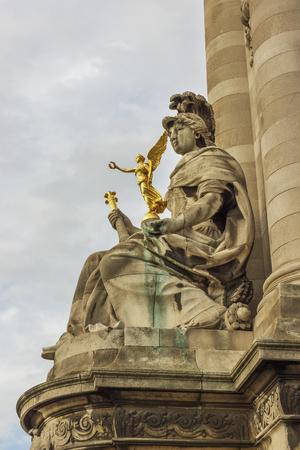 alexandre: Sculpture on Alexandre III bridge. Stock Photo