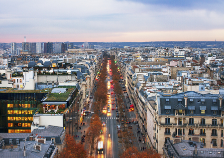 triumphe: PARIS - NOVEMBER 28: View from the Triumphe arc to the street in Paris -  capital and most populous city of France. City life in an autumn time on November 2014, Paris.