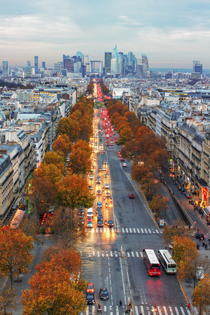 champs elysees quarter: PARIS - NOVEMBER 28: View from the Triumphe arc to the street in Paris -  capital and most populous city of France. City life in an autumn time on November 2014, Paris.