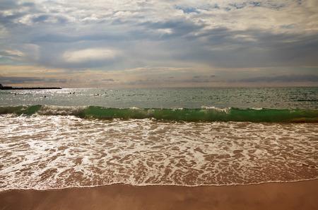 atlantic ocean: View to the Atlantic Ocean from San Sebastian or Donostia coast.