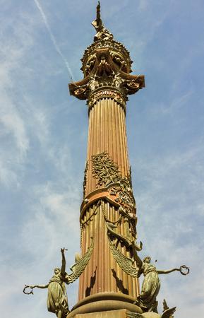 christopher: Fragment of Christopher Columbbus monument in Barcelona. Stock Photo