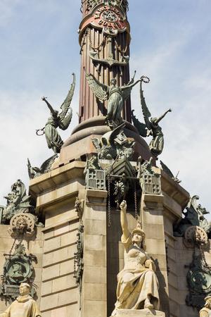 colom: Fragment of Christopher Columbbus monument in Barcelona. Stock Photo