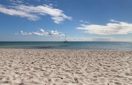 cinta: View to the Mediterranean Sea from beach of La Cinta, Italy.