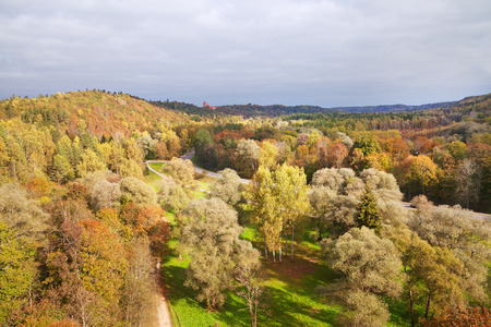 sigulda: View to the lanscape in Sigulda from cable way.