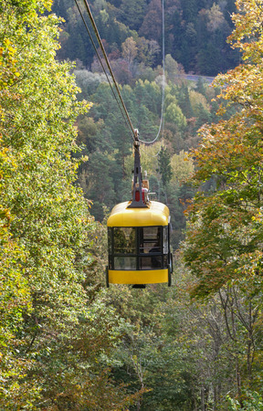 sigulda: Cableway road in Sigulda, vertical photo.