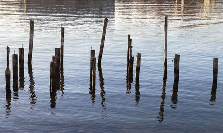 old pier: Abstract group of pillar, old pier. Stock Photo