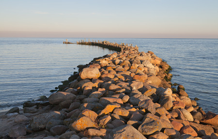stony: Stony breakwater at the Baltic sea. Stock Photo