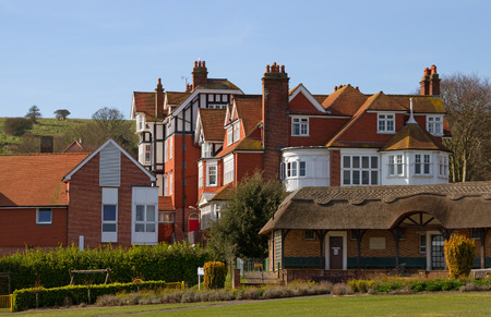 english channel: Homes in the Eastbourne with chimneys next to the English channel.