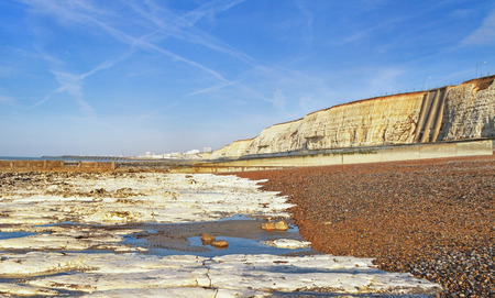 english channel: Limestone coastline at the English channel.