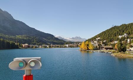 wood railroads: View to the lake in St. Moritz.