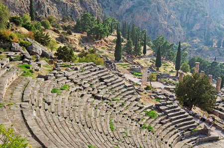 delphi: View to the ancient theater of Delphi, Greece.