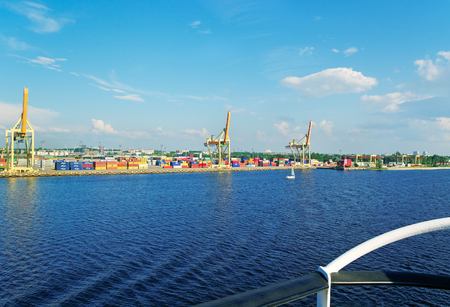 freeport: RIGA, LATVIA-JULY 9: Baltic Container Terminal is located at the mouth of the river Daugava within the Freeport of Riga. View of the harbor with container on 9 Yuly 2011, Latvia.