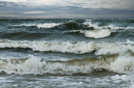 View of stormy seascape of Baltic sea.