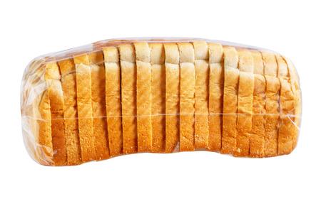 bolsa de pan: El pan de molde en la bolsa de pl�stico.