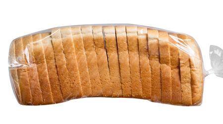 bolsa de pan: El pan de molde en la bolsa de plástico.