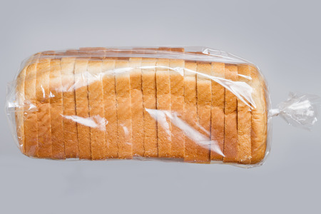 Sliced bread in plastic bag.
