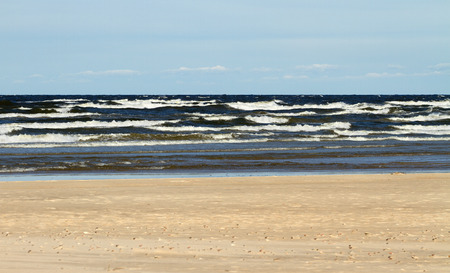 baltic sea: Large waves of stormy Baltic sea.