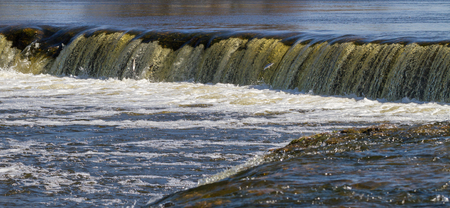 upstream: Fish jumping up in waterfall and going upstream for spawning, waterfall in a spring time.