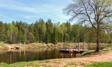 gauja: Crossing the river of Gauja in Ligatne national park, Latvia.