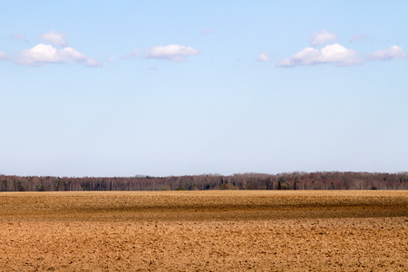 plowed: Landscape with plowed field in early spring.