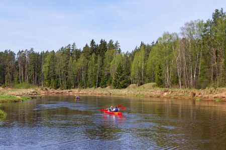gauja: On the river of Gauja in a canoe descent, Latvia.