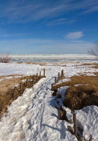 baltic sea: Path on the beach of Baltic sea in Latvia.