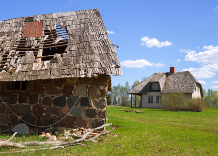 homestead: Natural homestead with holey roof of barn.