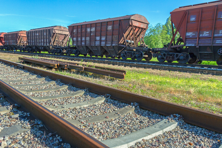 wagons: Railway tracks with vacant wagons. Stock Photo