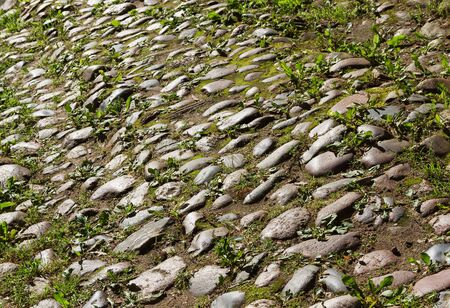 weed block: Texture of stone road with grass. Stock Photo