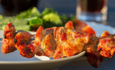 shashlik: Tasty prepared shashlik on plate. Stock Photo