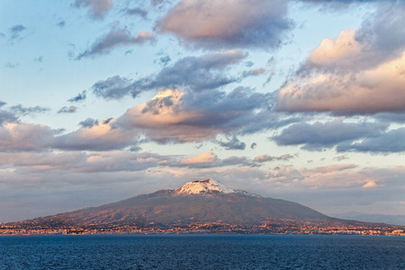 View from the Sorrento coast to the Vesuvius volcano. Stock Photo