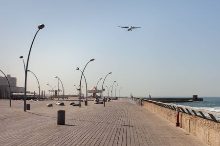 Promenade in Tel Aviv along the Mediterranean sea. Stock Photo