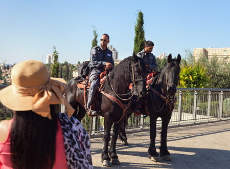 constabulary: ISRAEL, JERUSALEM - OCTOBER 29: Jerusalem is a city located between the Mediterranean and the Dead Sea.One of the oldest cities in the world.Mounted police on place of Jerusalem on 29 October 2016.